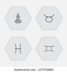 Set of 4 astrology icons line style set. Collection of augur, fishes, bull and other elements.