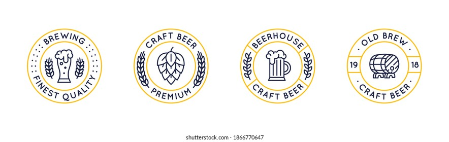 Set of 4 beer labels and logos. Circle vintage craft beer icons with glass, hop and barrel isolated on white background. Vector illustration