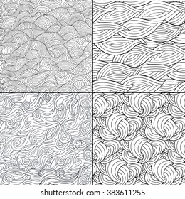 Set of 4 black and white doodle seamless patterns. Vector illustration wave motif