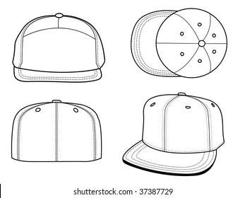Set Of 4 Blank Hats That Can Be Used As Mockups Or Templates You