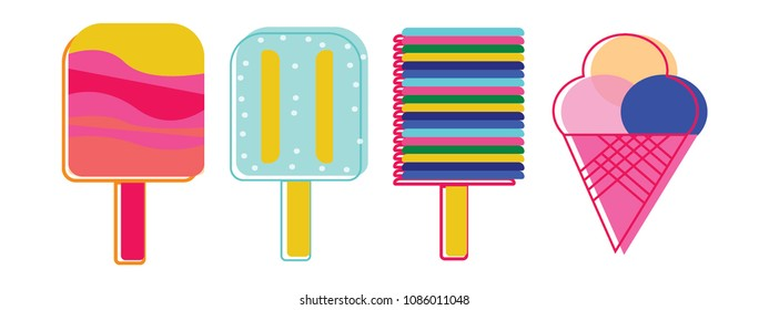 set of 4 bright colorful popsicles flat style summer logo concept