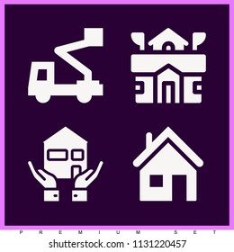 Set of 4 buildings filled icons such as house outline, house, crane machine