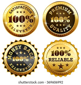 Set of 4 business sealsra in gold and black - 100% satisfaction guarantee, Money back, Premium quality and reliability labels