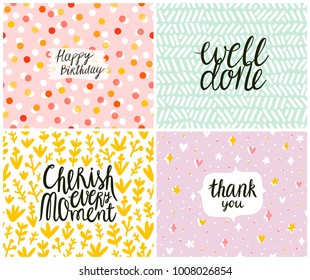 Set of 4 cards, seamless patterns at the background
