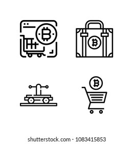 Set of 4 cart outline icons such as wagon, store, bitcoin