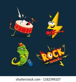 Set of 4 cartoon illustrations on the theme of rock.