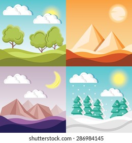 Set of 4 cartoon nature backgrounds and landscapes with different seasons. Fields and forest, desert with pyramids, night mystery canyon with mountains, winter forest. Beautiful vector illustrations