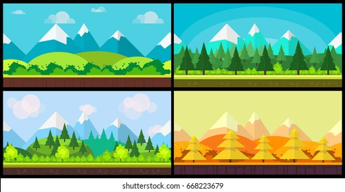 Set of 4 cartoon nature backgrounds and landscapes with different seasons. Beautiful vector illustrations for your design.