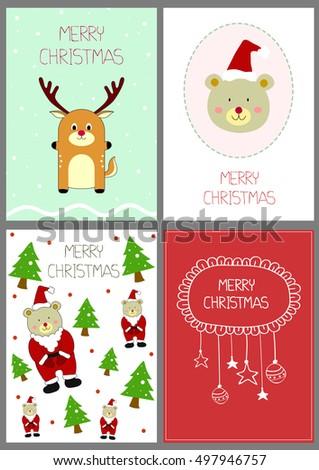 set 4 christmas card templates greeting stock vector royalty free