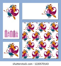 Set of 4 Christmas greeting cards with Befana. Italian Christmas tradition. Vector illustration