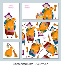 Set Of 4 Christmas Greeting Cards With Befana Italian Tradition Vector Illustration