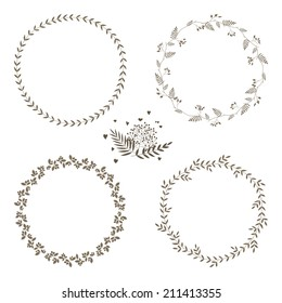 Set of 4 circle cute hand drawn frames on the white background