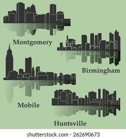 Set of 4 City in Alabama ( Montgomery, Mobile, Huntsville, Birmingham)