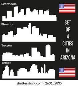 Set of 4 City from Arizona (Phoenix, Scottsdale, Tempe, Tucson)
