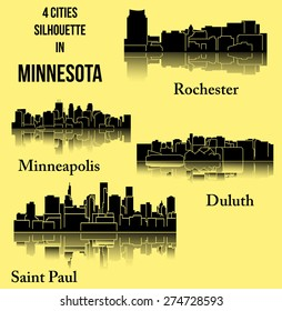 Set of 4 city in Minnesota ( Saint Paul, Minneapolis, Rochester, Duluth )
