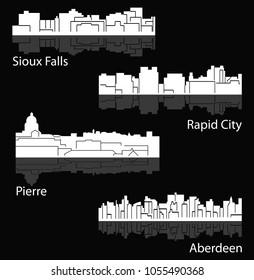Set of 4 city silhouette in South Dakota ( Pierre, Rapid City, Sioux Falls, Aberdeen )