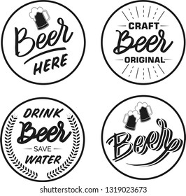 Set of 4 coasters for beer with hand written lettering text. Bierdeckel, beermat for bar, pub, beerhouse. Round  stand. Beer, brewery, oktoberfest hand written lettering. Isolated