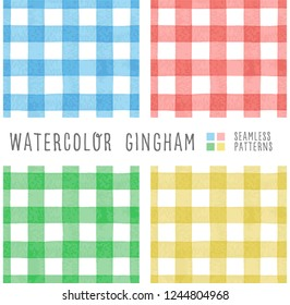 set of 4 color watercolor gingham, seamless vector pattern