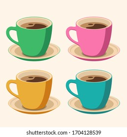 Set of 4 colored Coffee Cups on light background. Flat Style vector Illustration. Decorative Design for Cafeteria, Posters, Cards, Banners