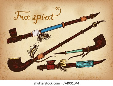 Set of 4 colored hand drawing ink traditional indian smoking pipe of peace.  Elements in native style for greeting card and postcard, henna and tattoo design.