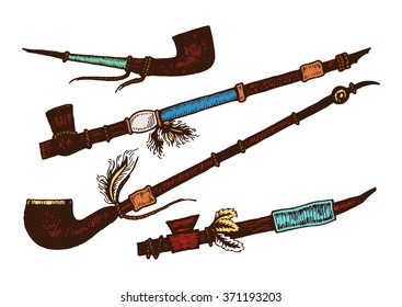 Set of 4 colored smoking pipe. Isolated. The concept for the design. Vector illustration.