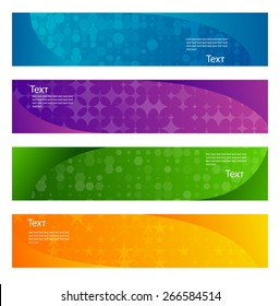Set of 4 colorful abstract horizontal web banners. Vector illustration.