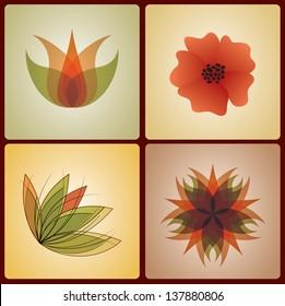 Set of 4 colorful flower designs for logo designing