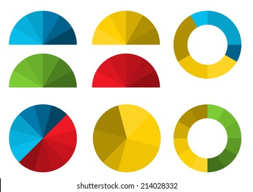 Set of 4 colorful half pie diagrams in color shades and 4 full pie diagrams in these color shades - for your presentation of infographic