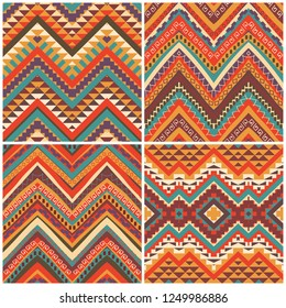 Set of 4 colourful ethnic patterns, seamless background, vector illustration