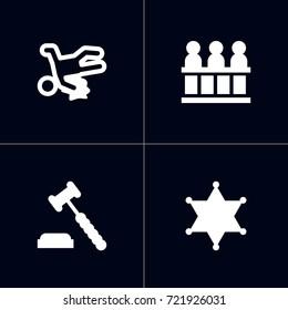 Set Of 4 Crime Icons Set.Collection Of Victim, Judge Gavel, Officer Emblem And Other Elements.