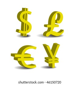 Set of 4 currency 3d symbols. USD, Pound, Euro; Yen