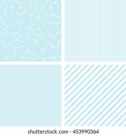 Set of 4 cute blue vector patterns