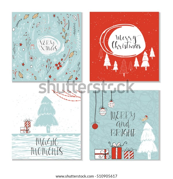 Cute Christmas Cards.Set 4 Cute Christmas Cards Quote Stock Vector Royalty Free