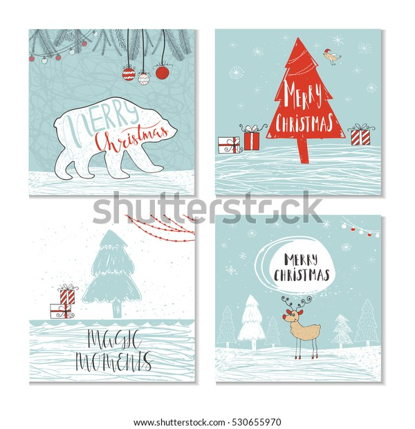 Set 4 Cute Christmas Cards Quote Stock Vector Royalty Free