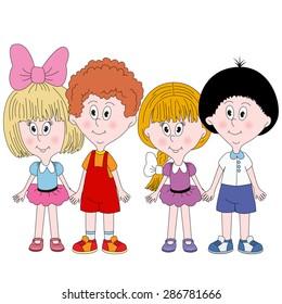 Set of 4 cute happy cartoon kids