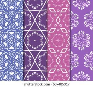 set of 4 decorative line geometric ornament. seamless vector illustration. texture for design, wallpaper, invitation card, banner, fabric .