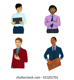 Set of 4 different business men isolated. With phone, with tablet, with case and with arms crossed.