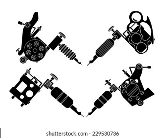 Set of 4 different style realistic tattoo machines icons. Revolver tattoo machine, knuckle duster tattoo gun. Invert black and white color illustration isolated on white