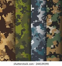 Set of 4 digital camo patterns vector