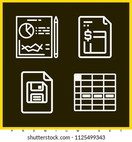Set of 4 document outline icons such as planning, spreadsheet cell row, financial