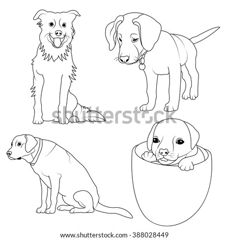 Set 4 Dogs Coloring Page Children Stock Vector (Royalty Free ...