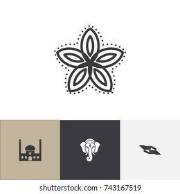 Set Of 4 Editable Dyne Icons. Includes Symbols Such As Chapel, Indian Elephant, Prayer And More. Can Be Used For Web, Mobile, UI And Infographic Design.
