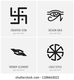 Set of 4 editable religion icons. Includes symbols such as blessing, sun symbol, horus eye and more. Can be used for web, mobile, UI and infographic design.