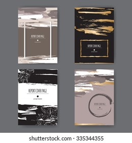 Set of 4 elegant grunge A4 templates with paint brush strokes. Great for report, brochure covers, menu design.