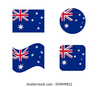 set 4 flags of australia