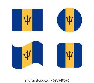 set 4 flags of barbados