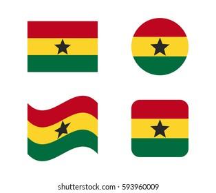 set 4 flags of ghana