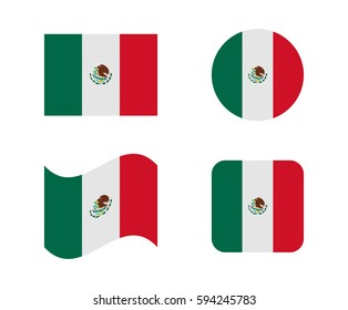 set 4 flags of mexico
