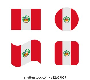 set 4 flags of peru