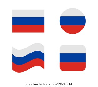 set 4 flags of russia